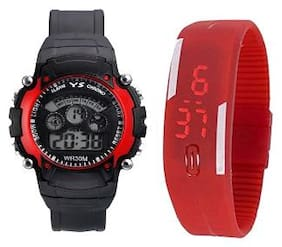 Ys Sport Red Digital Led Wrist Watch Pack Of 2