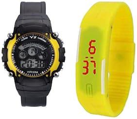 YS Sport Yellow Digital Led Wrist Watch Pack of 2