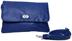 Borse Blue Polyester Solid Sling Bag