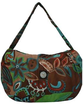 Anekaant Brown Canvas Handheld Bag