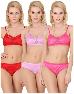 33c4afa0b4 Urbaano Red Pink And Purple Bridal Lingerie Set Set Of 3(Size-34B)