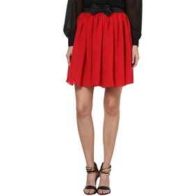 Besiva Red Skirt With Satin Bow Detail