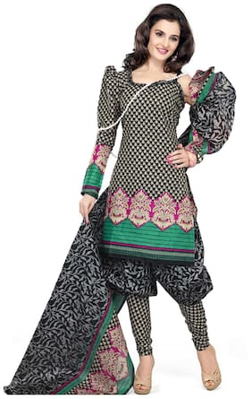 Silkbazar Elegant Black Cotton Printed Dress Material