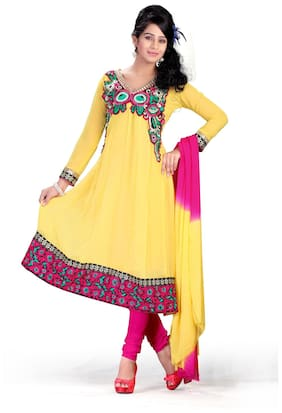 Silkbazar Party Wear Yellow Chiffon Embrodried Dress Material