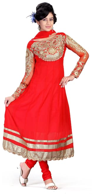 Silkbazar Party Wear Red Chiffon Embrodried Dress Material