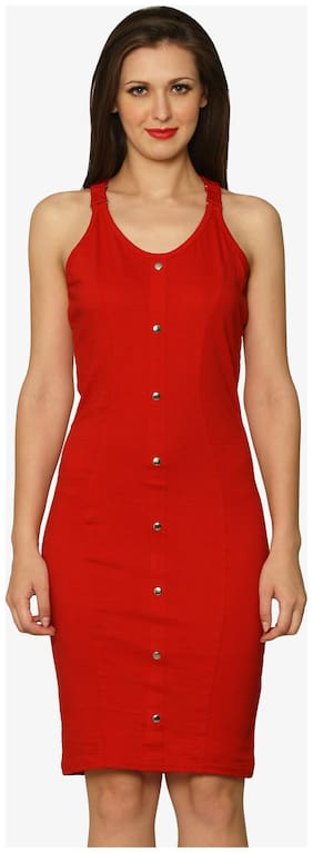 Miss Chase Women's Red Round Neck Sleeveless Bodycon Dress