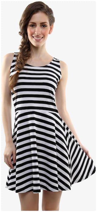 Miss Chase Women's Black and White Round Neck Sleeveless Striped Mini Skater Dress