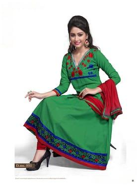 Silkbazar Pretty Embrodried Green Anarkali Dress Material