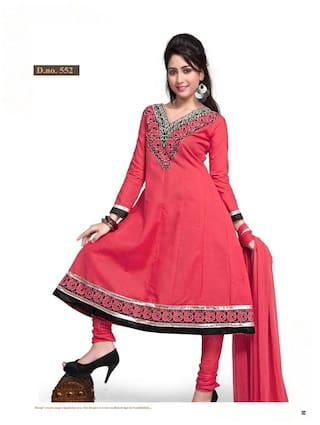 Silkbazar Pretty Embrodried Fussia Pink Anarkali Dress Material
