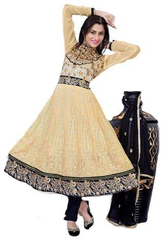 Silkbazar Elegant Embrodried Cream And Black Anarkali Dress Material