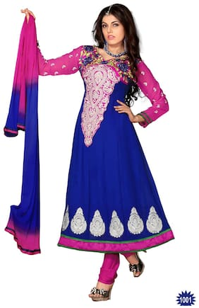 Silkbazar Awesome Embrodried Blue And Pink Anarkali Dress Material