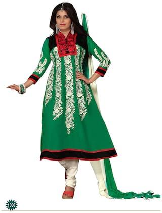 Silkbazar Beautiful Embrodried Green Anarkali Dress Material