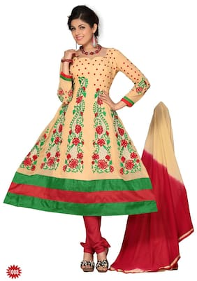 Silkbazar Multicolored Embrodried Anarkali Dress Material