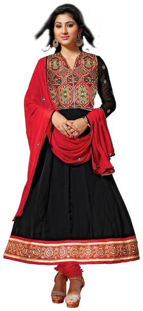 Silkbazar Beautiful Embrodried Black And Red Anarkali Dress Material