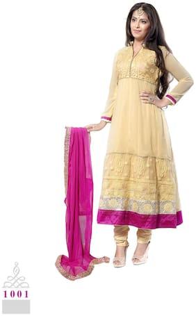 Silkbazar Pretty Embrodried Cream And Pink Anarkali Dress Material