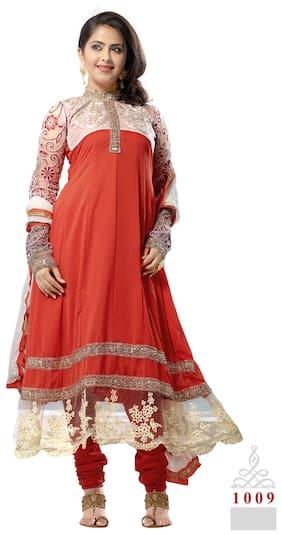 Silkbazar Pretty Embrodried Orange Anarkali Dress Material