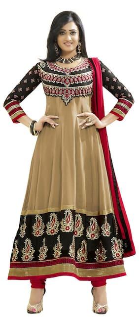 Silkbazar Beautiful Embrodried Cream And Black Anarkali Dress Material