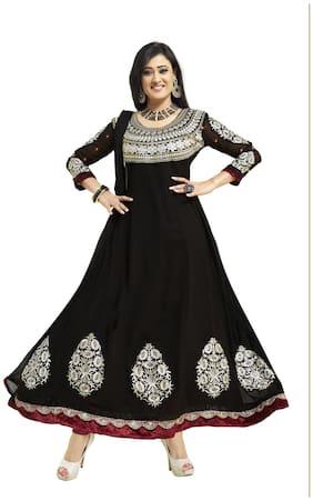 Silkbazar Pretty Embrodried Black Anarkali Dress Material