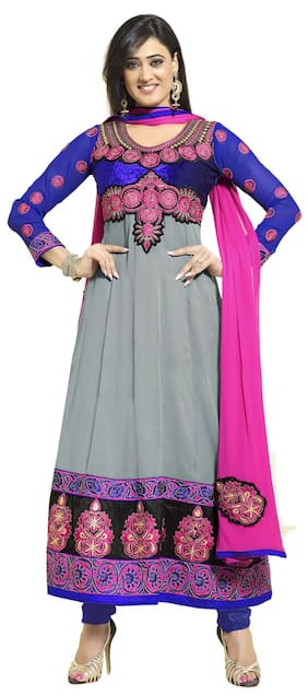 Silkbazar Awesome Embrodried Grey And Blue Anarkali Dress Material