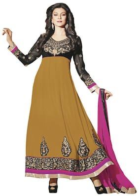 Silkbazar Pretty Embrodried Mustard And Black Anarkali Dress Material