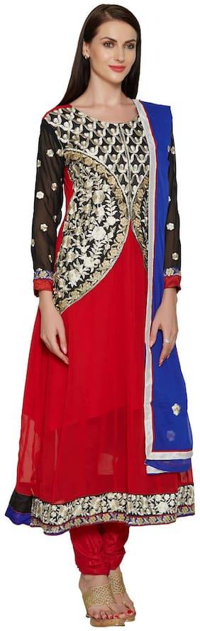 Silkbazar Elegant Embrodried Rust And Black Anarkali With Shrug Dress Material