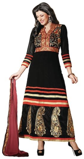 Silkbazar Awesome Embrodried Black Anarkali Dress Material