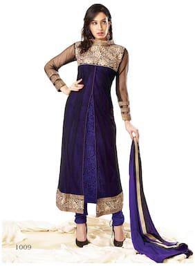 Silkbazar Elegant Embrodried Purple And Black Anarkali With Shrug Dress Material
