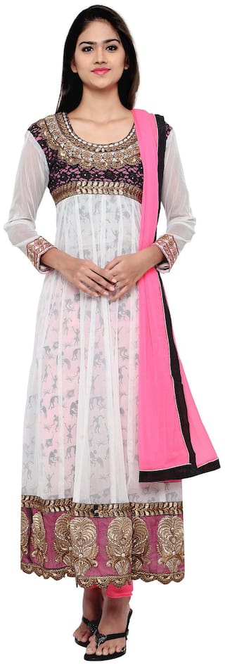 Silkbazar Awesome Embrodried White And Pink Anarkali Dress Material