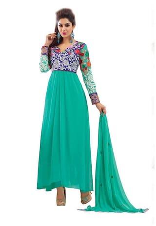 Silkbazar Pretty Embrodried Blue Anarkali Dress Material
