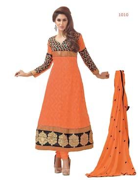 Silkbazar Elegant Embrodried Orange Anarkali Dress Material