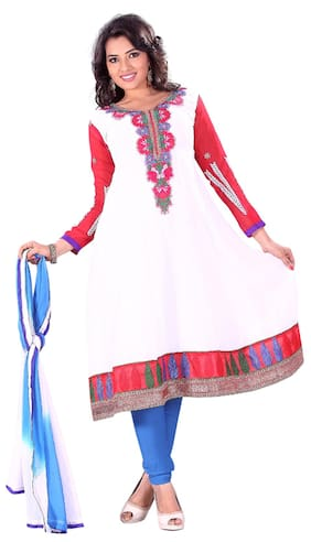 Silkbazar Florence White Embroided Georgette Dress Material