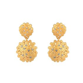 Kshitij Flowral Look Earrings Gold Plated With Ad Stones