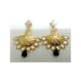 Kshitij Traditional Look Earrings Gold Plated With Kundan And Black Grop