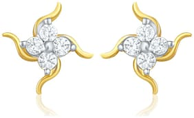 Mahi Gold Plated Stud Earring of brass alloy with CZ for Women ER1103753G