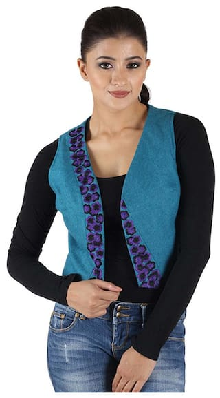 Size S Embroidered Turq Owncraft Waistcoat p2Jdum9yam