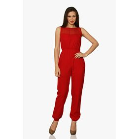 Miss Chase Women's Red Round Neck Sleeveless Back Cut Out Jumpsuit