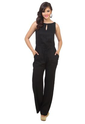 Cottinfab Women's Black Jumpsuits (Size-S)