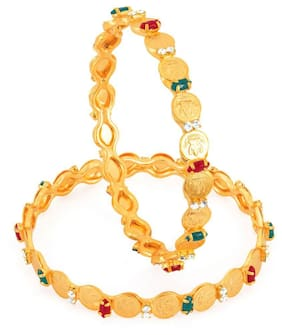Sukkhi Gold Plated Color lord Lakshmi bangles for Women