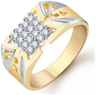 Sukkhi Gold and Rhodium Plated CZ Ring for Men