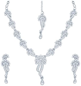 Sukkhi Appealing Rhodium Plated Australian Diamond Stone Studded Necklace Set for Women