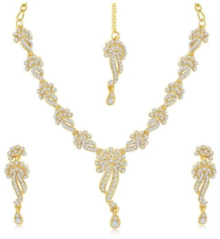 Sukkhi Beguiling Gold Plated Australian Diamond Stone Studded Necklace Set for Women