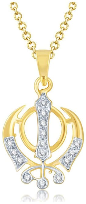 Sukkhi Glamorous Gold And Rhodium Plated Cubic Zirconia Stone Studded God Pendant with Chain for Unisex