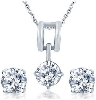 Sukkhi Delightful Rhodium Plated Solitaire CZ Pendant Set for Women