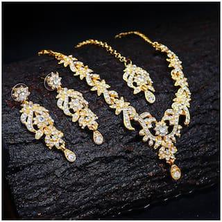 Sukkhi Trendy Gold Plated Wedding Jewellery Austrian Diamond Necklace Set for Women