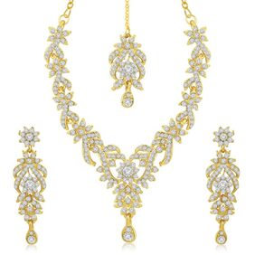 Sukkhi Trendy Gold Plated Australian Diamond Stone Studded Necklace Set