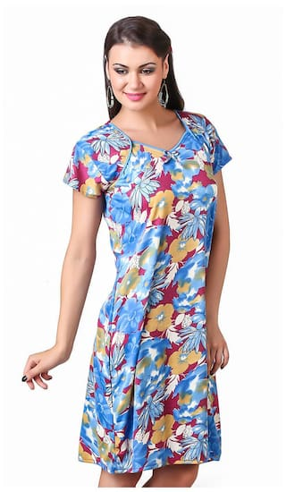 Buy Masha Blue Hosiery Short Nighty Online at Low Prices in India ... c33d4ed18