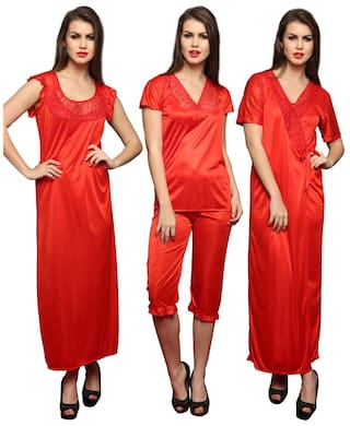 5ca76044a0 Buy Clovia Women Satin   Nylon Lace Nightwear Red Color Online at ...