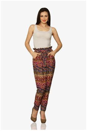 Miss Chase Women's Multicolored High Waist Solid Pants