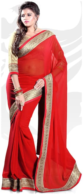 Mirchi Fashion Red Faux Georgette Saree With Blouse