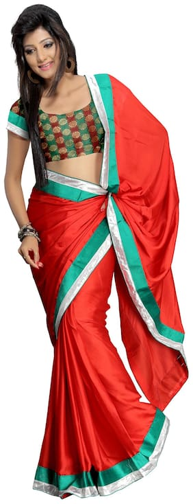 Florence Red Satin Embroidered Saree